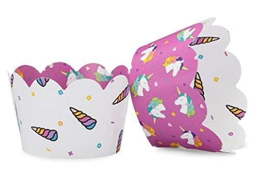 (Unicorn Cupcake Wrappers for Girls Birthday Party, Magical Baby or Bridal Showers. Set of 24 Reversible unicorn pattern, horned Cup Cake Holder Wraps. Turquoise, Purple, Pink, Yellow, Blue, Orange, T )