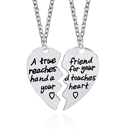Double Heart Tag Necklace - Meiligo Fashion 2 Pcs Best Friends Friendship Gold Silver Heart Tag Necklace Key Chain Set Double Heart Jewelry matching Love Heart Key chain Pendant (Necklace Set)