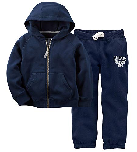 Fleece Pants Hoodie (Carter's Boys Fleece Hoodie and Pants 2-Piece Set (18M, Navy))