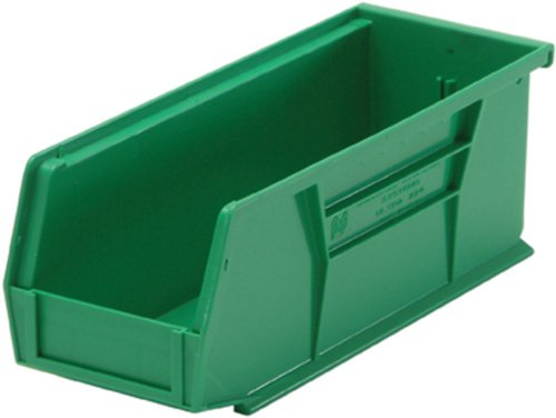 (Quantum QUS224 Plastic Storage Stacking Ultra Bin, 10-Inch by 4-Inch by 4-Inch, Green, Case of 12)