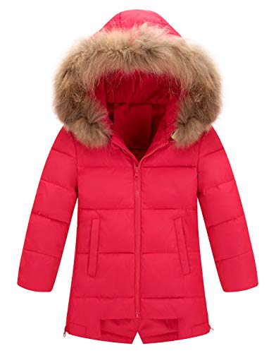 AIEOE Girls' Heavy Quilt Long Leather Coat Lined Detachable Hood Padded Puffer Coat 7-8 - Quilt Puffer