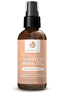 Revitalizing Stretch Mark Oil - Erase & Prevent Stretch Marks - Repair Skin - Improve Scars & Cellulite - With Sea Buckthorn, Rosehip, Cranberry Seed & Meadowfoam Seed Oil - 100% Natural - Foxbrim 2oz