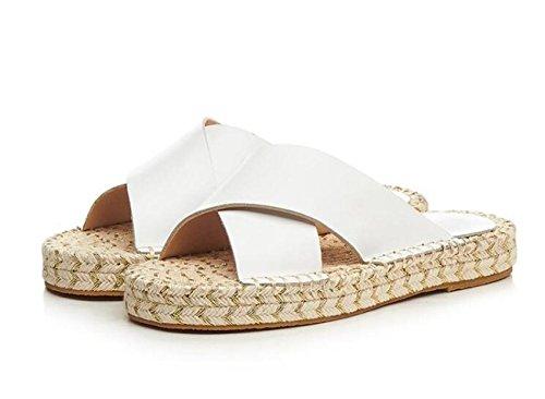 PBXP Pattini casuali eleganti pattinanti pieghevoli pieghe esterne intrecciate di formato UE 33-43 , white white leather , 39