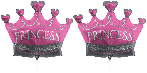 (Set of 2 Foil Air Filled Balloons! Helium Free - Sticks and Joiner - Stars - Unique Themes - Party Balloons and Birthday Balloons Perfect for any Party Decoration! (2ct Princess Tiara 36