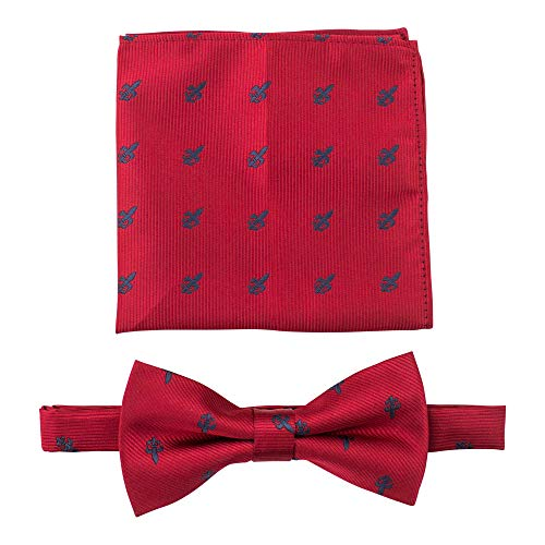 Fleur De Lis Bow Ties for Men - Bow Tie with Matching Pocket Square - Red/Gray