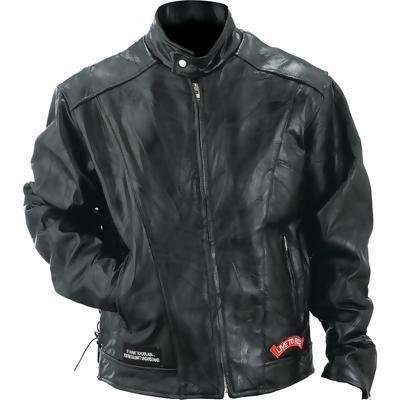 (Diamond Plate Rock Design Genuine Buffalo Leather Motorcycle Jacket (Large))