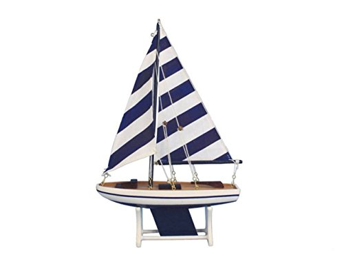 Hampton Nautical  Decorative Wooden It Floats Model Boat 12