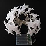 Ouniman 20 Stars LED Curtain String Lights, Rope Light Window Lights Decoration for Christmas, Wedding, Party, Home, Patio Lawn - White