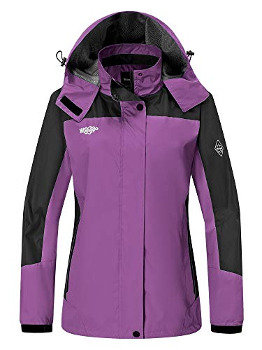 Wantdo Women's Seam Sealed Water Resistant Full Zip Climbing Jacket Purple US M