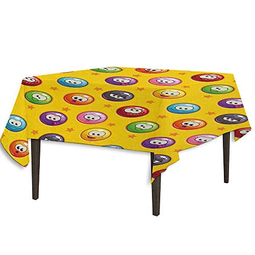 kangkaishi Emoji Washable Tablecloth Smiley Surprised Grumpy Sad Happy Mood Faces Background with Little Stars Art Print Desktop Protection pad W70 x L70 Inch Multicolor