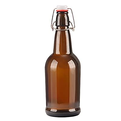 16oz Amber Glass Beer Bottle Bottles with Easy Wire Swing Cap & Airtight Rubber Seal. Perfect for Home Brewing Wine.