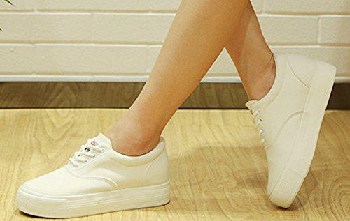 Aisun Womens Casual Hauteur Ascenseur Toile Chaussures Sneakers Blanc