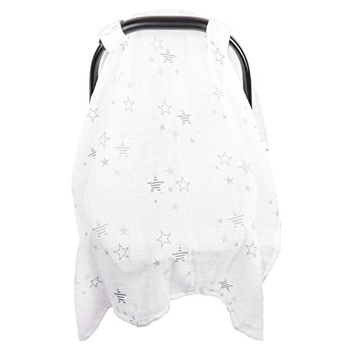 Baby Car Seat Cover, Unisex Extra Large Lightweight and Breathable Canopy, Cotton Muslin, Fits Standard Newborn Carseats, Protecting Infants and Toddlers