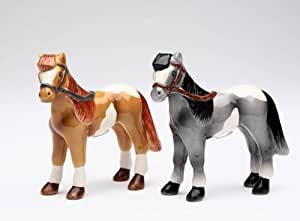 2 Piece Bridled Black and Brown Stallions Salt and Pepper Shaker Set by Cg