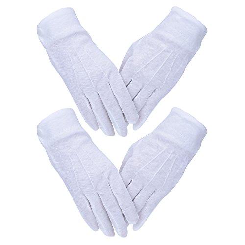 Weiße Handschuhe mit Druckknopf