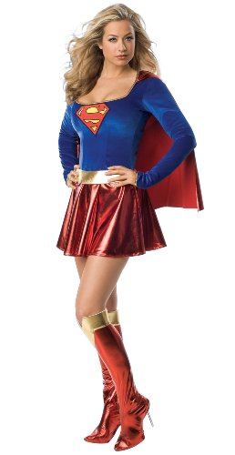 Secret Wishes Women's Adult Supergirl Costume, Blue/Red, Medium - Girl Adult Womans Costumes