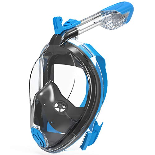 - G2RISE SN02 Full Face Snorkel Mask - Easy Breath Airflow System with Minimum Volumetric Flow Rate & 180° Panoramic Integrated Lens Design for A Safe Adults/Kids Snorkeling (Black Blue, S/M)