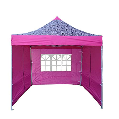DELTA Canopies 10'x10' Ez Pop up Canopy Party Tent Instant Gazebo 100% Waterproof Top with 4 Removable Pink Zebra - E ()