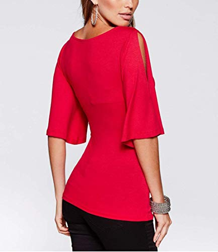 Chemisier Chemise Rouge Trompette V 4 Party Blouse Tops Femme Moderne Et Elgante Manches Cocktail Maigre en 3 Tee Profond Unicolore Shirt Chic Col Costume Manches Mode AgS0q