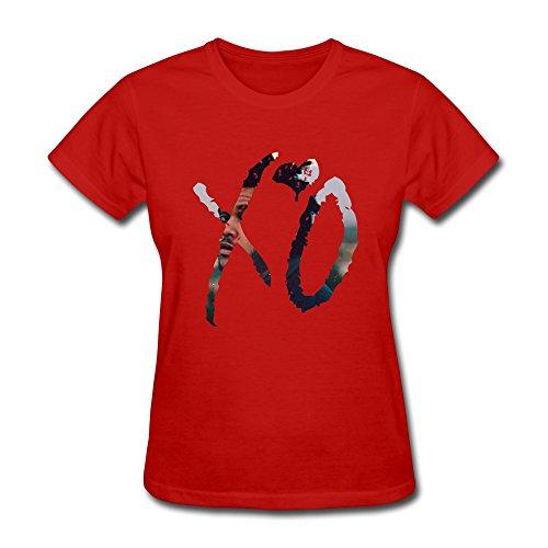 LENOJE Women's The Weeknd XO Logo Cotton T-shirt Red L
