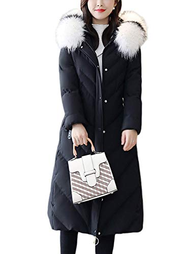 Uaneo Women's Mid Long Thicken Warm Slim Quilted Puffy Hoody Winter Coat Jacket