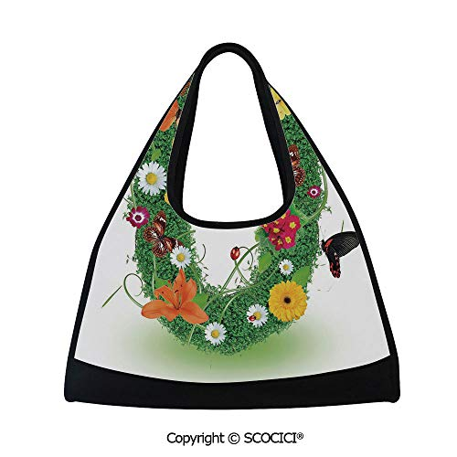 Tennis racket bag,Spring Season Alphabet with Grass Daisy Butterflies Ladybugs Greenland Florets Decorative,Sports and Fitness Essentials(18.5x6.7x20 in) Multicolor