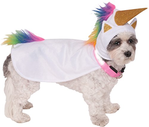 Cat Unicorn Costume (Rubies Costume Company Unicorn Cape with Hood and Light-Up Collar Pet Costume, Large)