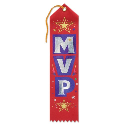 Beistle Ar148 Mvp Award Ribbons  2 By 8 Inch  6 Pack