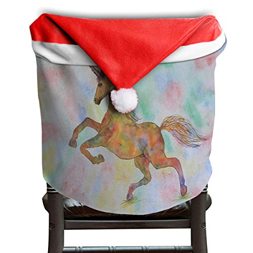 (LoveBea Santa Hat Chair Covers Rainbow Unicorn in My Garden Chairs Back Cover Slipcovers Kitchen Sets Festive Decor)