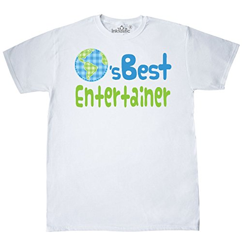 inktastic - Worlds Best Entertainer T-Shirt X-Large White 19b54 (Entertainer Mens T-shirt)