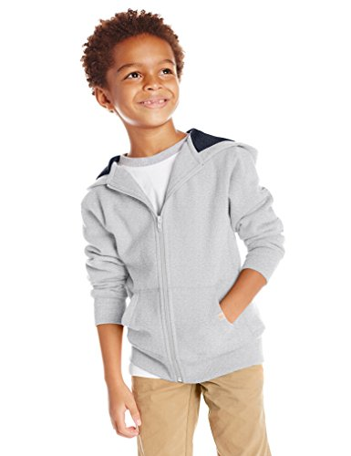 Scout + Ro Big Boys' Basic Fleece Hooded Jacket, Grey Heather, 14 by Scout + Ro (Image #2)