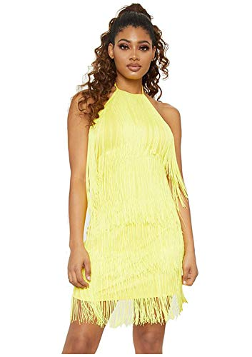 L'VOW Women' Sexy Open Back Skirt Gatsby Cocktail Party Fringed Flapper Costume Dress (M, Yellow)]()