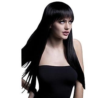 Peluca negra larga lisa con flequillo de gama alta