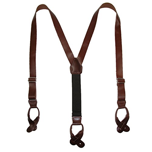 UPC 840892113804, CTM Men's Leather Button-End Y-Back Suspender with Bachelor Buttons, Brown