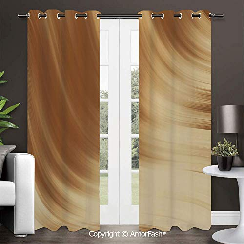 Blackout Curtains Room Darkening Thermal Insulated Curtain Panels for Living Room,42x96 Inch Tan Curved Wave Like Conceptual Artistic Display Creamy Effect Soft Colored Subtle Image