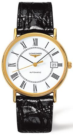 Longines Le Grande Classic White Dial Gold-plated Black Leather Mens Watch 49212112 ()