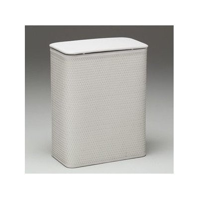 Redmon Budget Series Chelsea Pattern White Wicker Hamper with Vinyl Lid,
