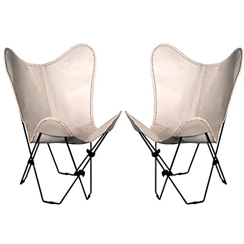 TEXANDECOR Pair Genuine Leather Butterfly Chair Folding Modern Sling Accent Seat (Leather Chair Sling Butterfly)