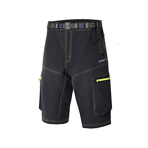 Ynport Men's Fast Dry Loose Fit MTB Shorts Mountain Bike Cycling Pants with Belt(No Padding) Black