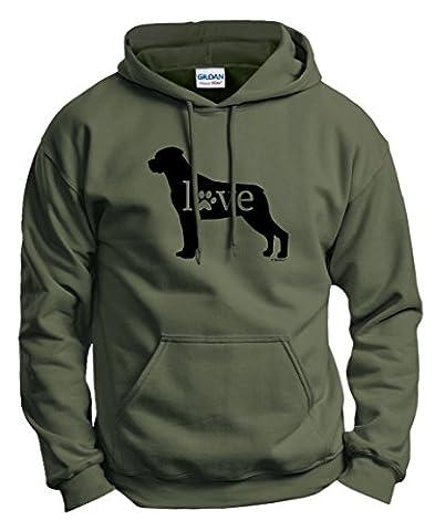 Dog Breed Gifts Rottweiler Love Dog Paw Prints Hoodie Sweatshirt Medium MlGrn - Rottweiler Jewelry