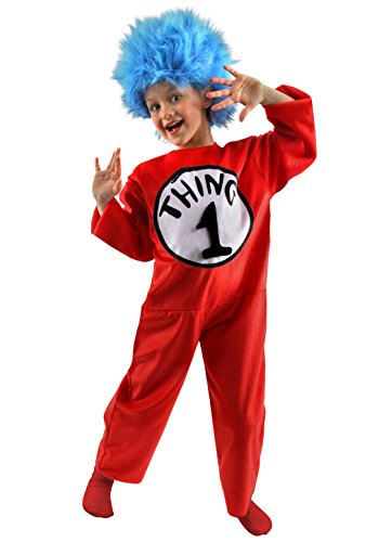 elope Dr. Seuss Thing 1 & 2 Deluxe Kids Costume (M, 8-10) (Thing 1 And Thing 2 Girl Costumes)