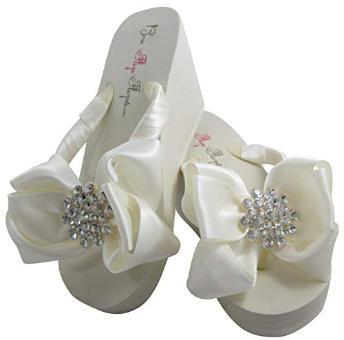- Bubbles Jeweled Satin Bow Bridal Flip Flops, Ivory or White, Wedge or Flat