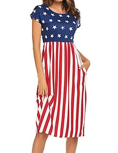 Naggoo Women's American Flag July 4th Tunic T Shirt Dress Maxi Dress with ()