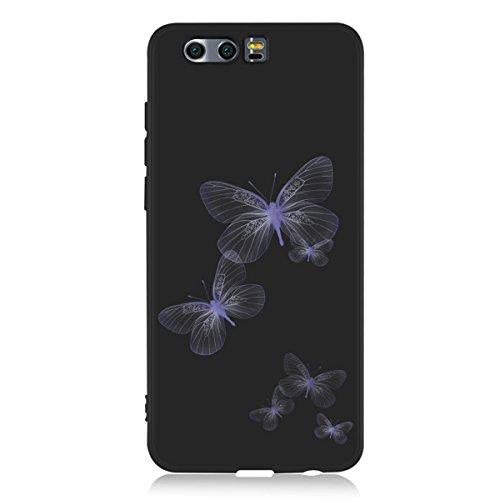 Funda para Huawei Honor 9 , IJIA Puro Negro Adorable Pony TPU Silicona Suave Cover Tapa Caso Parachoques Carcasa Cubierta Case para Huawei Honor 9 (5.15) Black-WM106