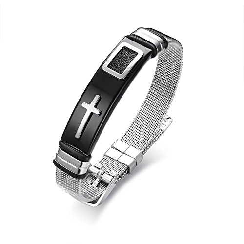 LexBu Men Bracelets Stainless Steel Cross Black 17CM by LexBu (Image #5)