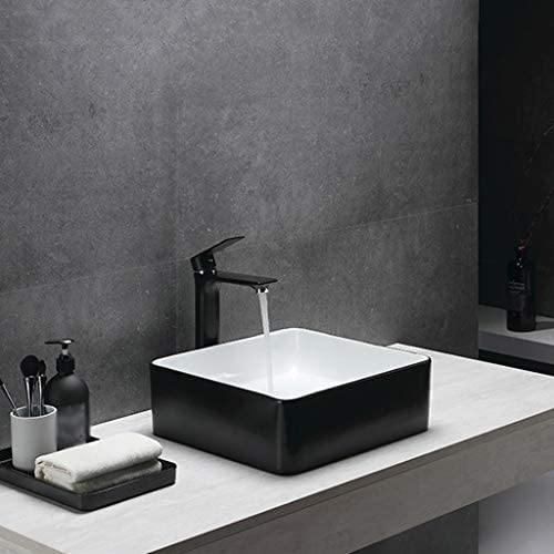 DS- バスルームの洗面台、ホームカウンタ流域(タップ無し)小技術流域単一流域上記方形セラミック、利用可能な3色 洗面ボール && (Color : White+black)