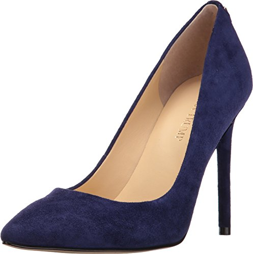 Heels Leather Navy High (Ivanka Trump Women's Kayden4 Pump, Navy Suede, 8 Medium US)