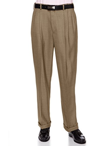 GIOVANNI UOMO Mens Pleated Front Dress Pants with Hidden Expandable Waist Camel-36 Short (Pants Dress Wool Men)