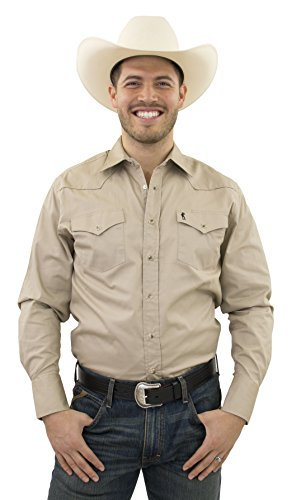 STARR 100% Cotton Men's Snap Western Shirt by Solid Color, Long Sleeve, Modern Fit | SWWLSS18-KHAKI-Size-L