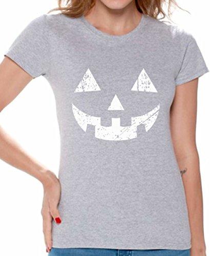 Awkward Styles Women's Jack O' Halloween Pumpkin T shirts Tee Tops for Women Halloween Easy Costume Idea Grey XL